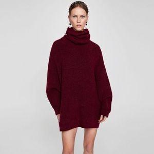 Zara Knit NWT Maroon Oversized Roll Neck Sweater